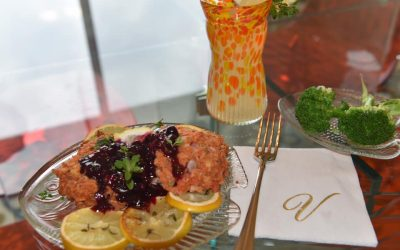 Sockeye Salmon Cakes with Blueberry Cognac Sauce