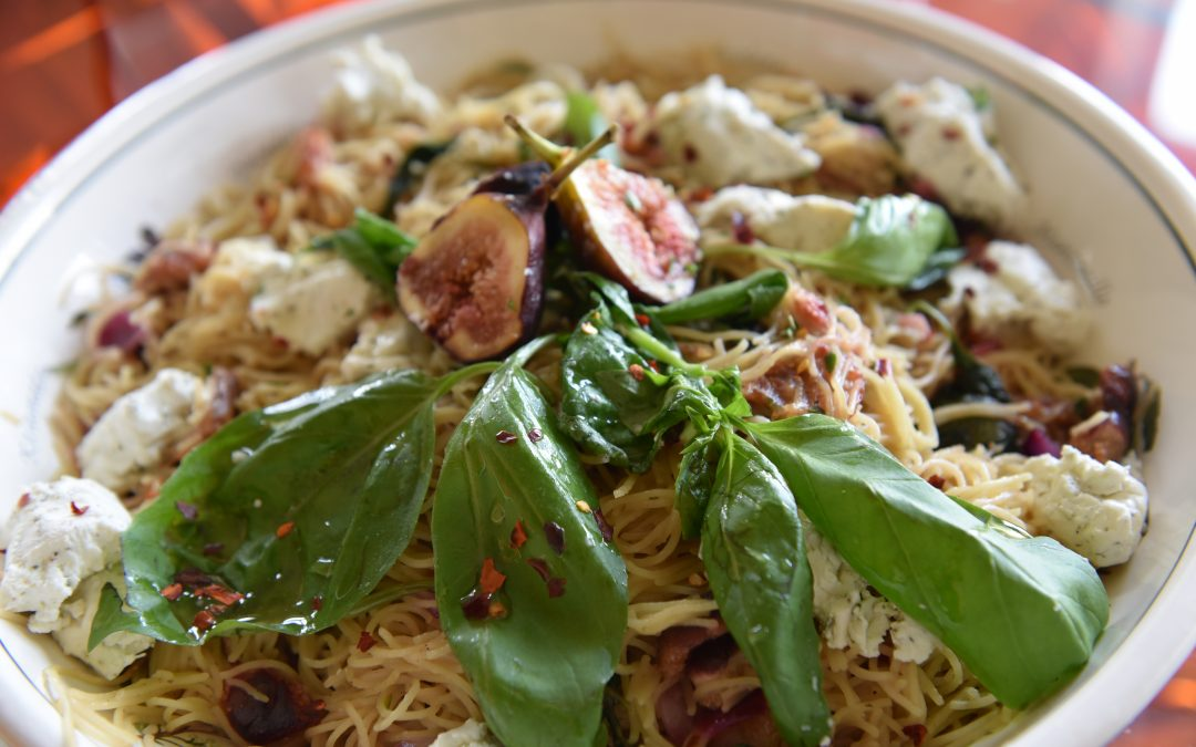 Lemon-Thyme Angel Hair Pasta with Fresh Figs & Basil Goat Cheese