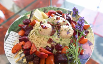 Pan-Fried Scallops with Beet Top Pesto Pasta & Honey-Roasted Root Vegetables