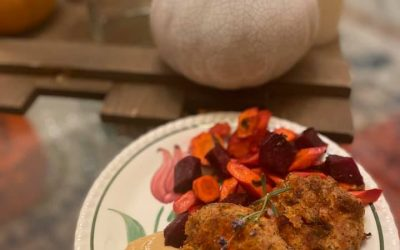 Sardine Cakes with Roasted Root Vegetables