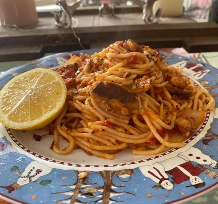 Santorini Style Spaghetti with Sardines
