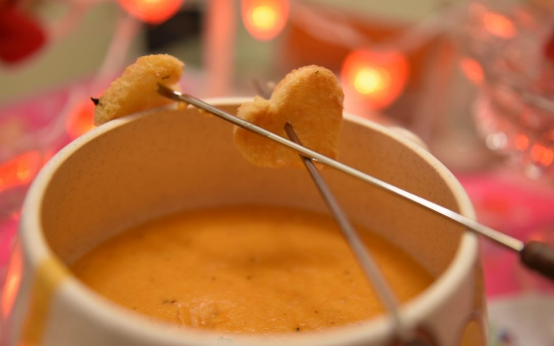 Smoked Gouda Fondue with Heart-Shaped Basil Breads
