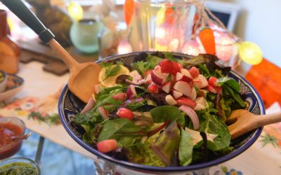 Fresh Greens with Easter Egg Radishes
