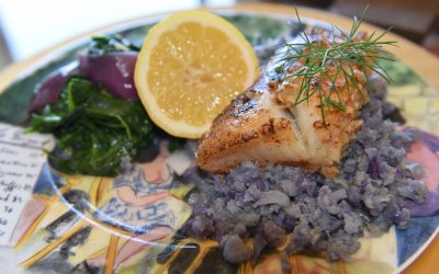 Sea Bass with Sicilian Cauliflower Mash and Steamed Spinach