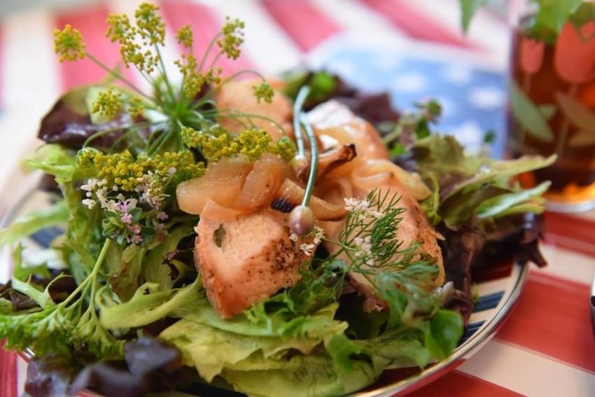 Flowering Herb Salad with Lemon Thyme Chicken and Crispy Shallots