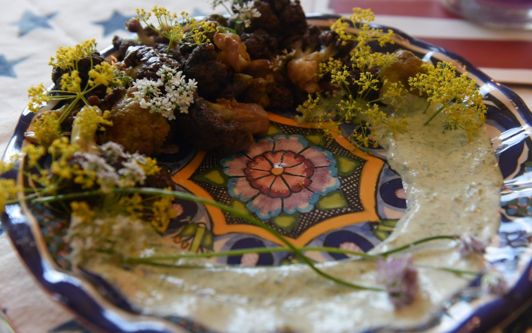 Zahav's Fried Cauliflower with Herbed Labneh (Greek Yogurt)