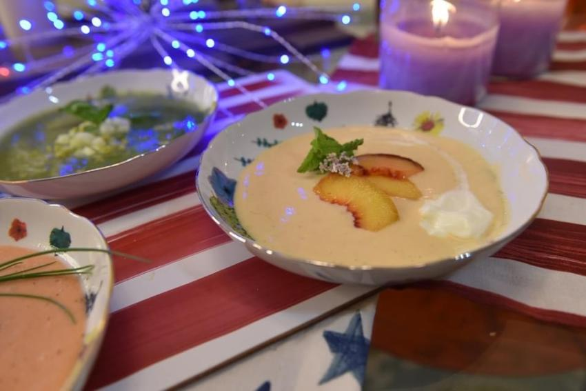 Chilled Peach Soup with Mint